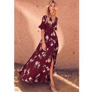 Lulu's Burgundy Floral Print Wrap Maxi
